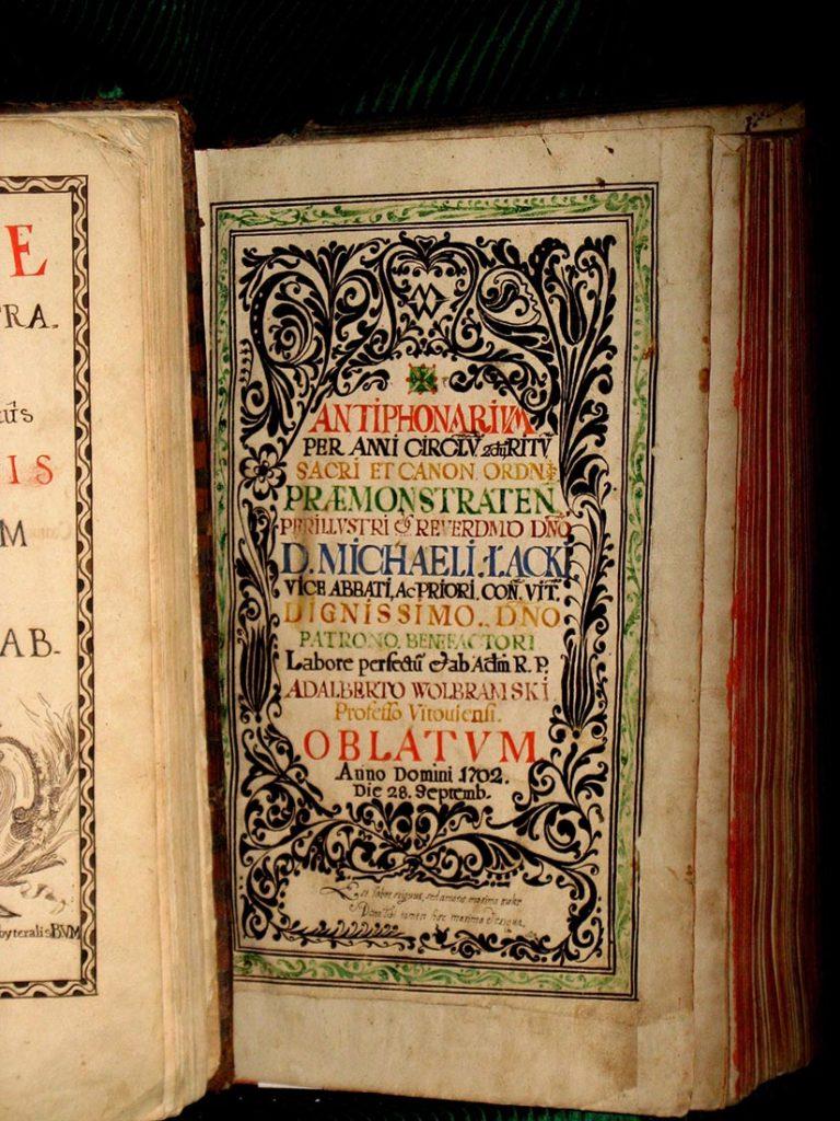 Antyfonarz spisany w 1702 roku przez ojca Wojciecha Wolbramskiego z klasztoru norbertańskiego w Witowie.