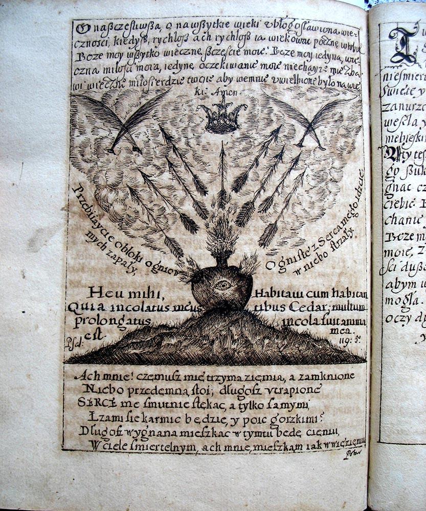 Wykonany ręcznie emblemat w cyklu jezuickich medytacji opartych na emblematach Cor Iesu amanti sacrum (Serce poświęcone kochającemu Jezusowi), II poł. XVII w.