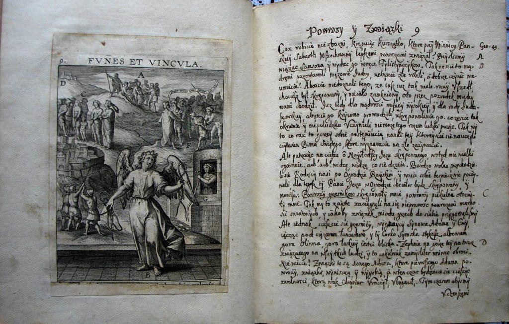 Fragment polskiego przekładu dzieła francuskiego jezuity Jeana Davida Paradisus sponsi et sponsae (Raj oblubieńca i oblubienice) z 1671 roku.