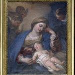 """Obraz olejny """"Matki Bożej z Dzieciątkiem"""" z pierwszej połowy XVII w., z bocznego ołtarza prezbiteriu"""