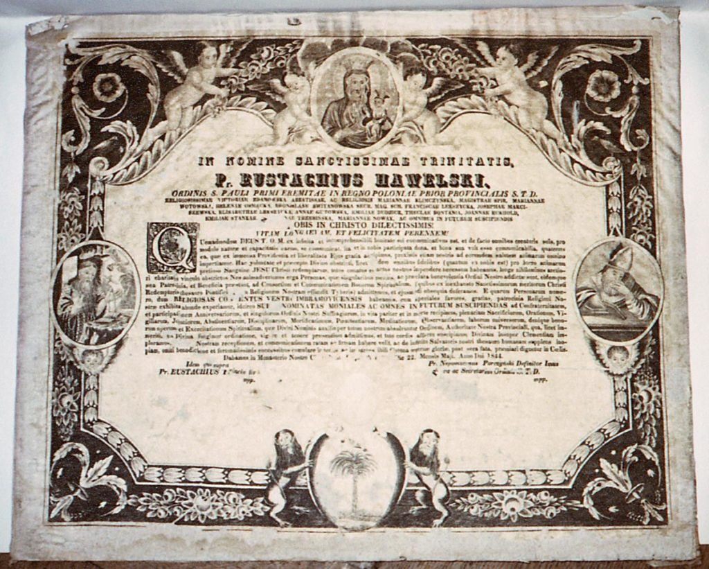 Dyplom konfraterni klasztoru Imbramowickiego z klasztorem z Jasnej Góry w Częstochowie, stalodruk