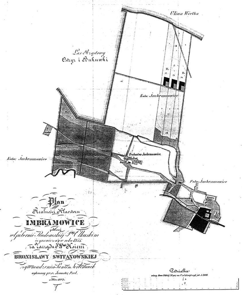 Plan nieruchomości klasztornych w Imbramowicach po konfiskatach z 1855 r.