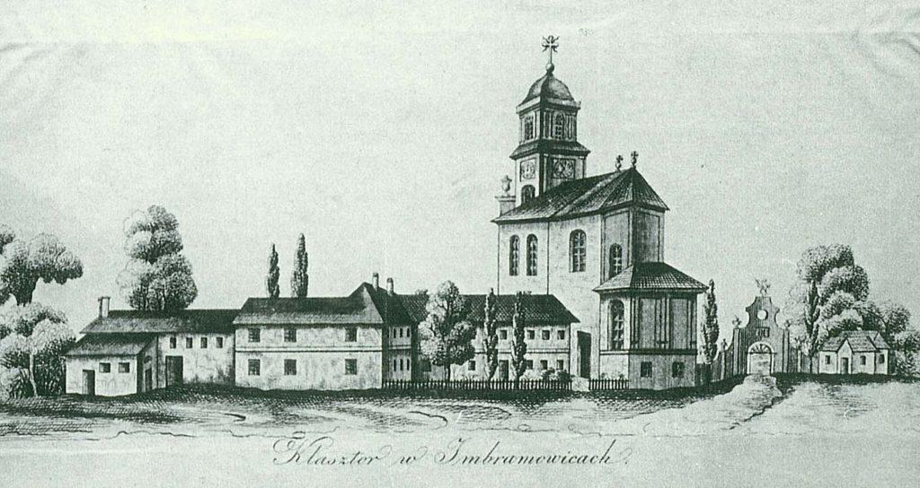 Widok klasztoru imbramowickiego i jego kościoła od strony wschodniej (z ok. 1780 r.)